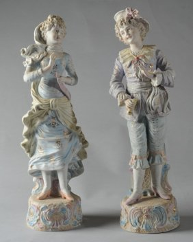 Pair Of Continental Bisque Figurines