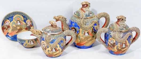 012305 Japanese Porcelain Gold Dragon Tea Set Lot 12305