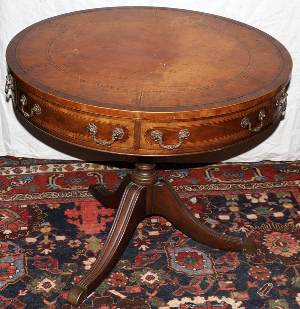 021073 Baker Furniture Co Drum Table With Leather Top