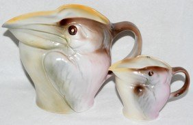 ROYAL BAYREUTH PELICAN PORCELAIN PITCHERS, TWO