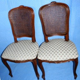 FRENCH PROVINCIAL CARVED WALNUT SIDE CHAIRS,