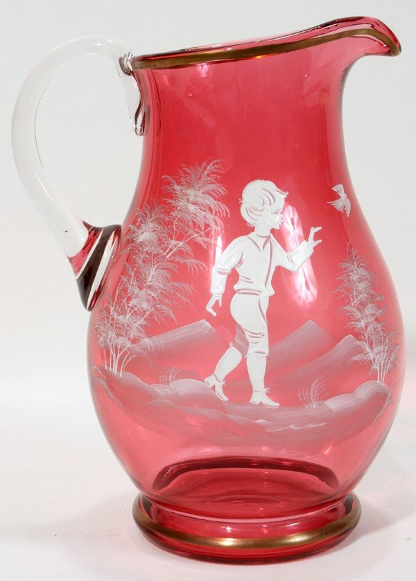 080068 Mary Gregory Style Cranberry Glass Pitcher Lot 80068