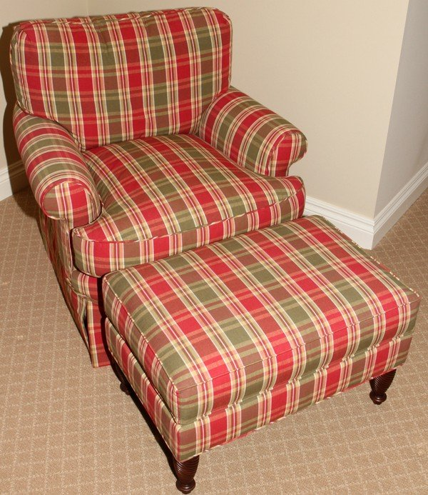 081279: PLAID UPHOLSTERED LOUNGE CHAIR & OTTOMAN : Lot 81279