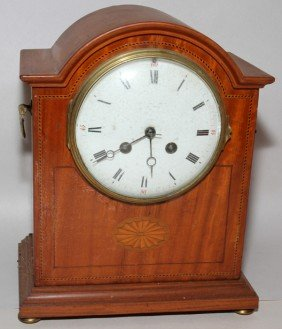 "SATINWOOD INLAID MANTLE CLOCK, H 10 1/2"","