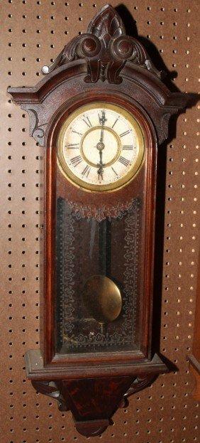 "VICTORIAN MAHOGANY WALL CLOCK, C. 1860, H 31"""