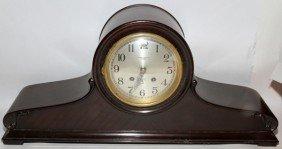 "CHELSEA MAHOGANY SHIP'S BELL CLOCK H 10"", L 22"""