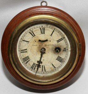 ANTIQUE OAK CLOCK, DIA 5 1/2""