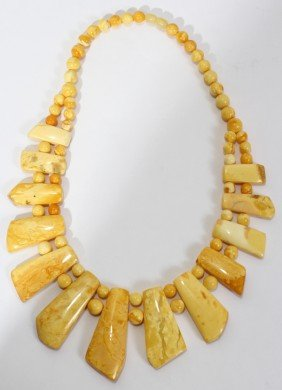 MILKY AMBER BEAD NECKLACE, L 18""
