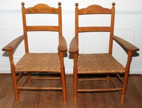 AMERICAN PRIMITIVE STYLE, MAPLE ARM CHAIRS,
