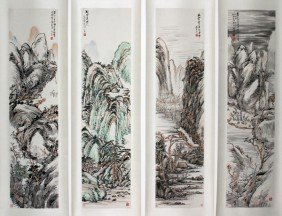 YAO HUA, INK & COLOR ON PAPER HANGING SCROLLS