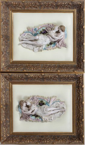CONTINENTAL BISQUE FIGURAL PLAQUES IN FRAMES,