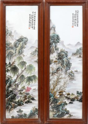 "CHINESE PORCELAIN FRAMED PLAQUES  PAIR 21"" 9"""