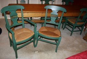 PAINTED GREEN CHAIRS WITH RUSH SEATS SET OF 6