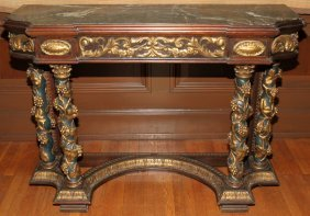 ITALIAN STYLE CARVED GESSO & MAHOGANY MARBLE