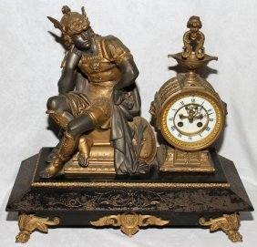 FRENCH SPELTER FIGURAL MANTEL CLOCK LATE 19TH C