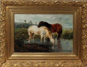 SCHOUTEN HENRI OIL ON CANVAS,  HORSES