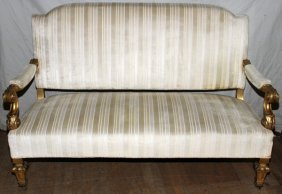 """FRENCH GILT WOOD  SETTEE   39"""" 28"""""""