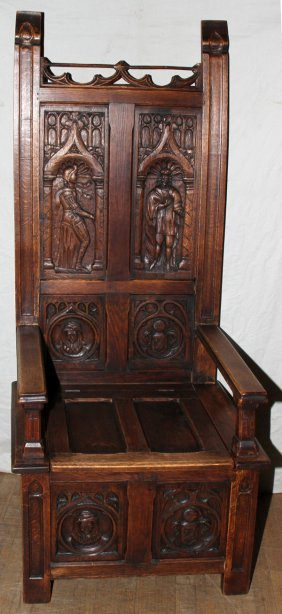 """BELGIAN CARVED WALNUT """"KNIGHT'S"""" CHAIR  66"""""""