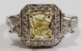 1.49CT FANCY LIGHT YELLOW DIAMOND RING