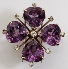 .33CT AMETHYST & .35CT DIAMOND VINTAGE PIN