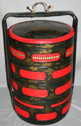 CHINESE WOOD AND WOVEN WEDDING BASKETS, 20TH C