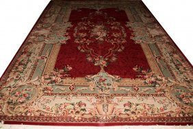 AUBUSSON DESIGN ORIENTAL RUG, ROSE AND IVORY,