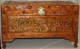 "CHINESE CARVED CAMPHOR WOOD CHEST, H 23"", L 39"""