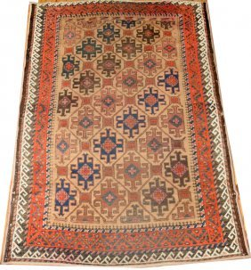 "ANTIQUE WOOL KURDISH RUG, 3' 2"" X 4' 8"""
