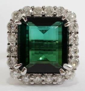 12.91CT TOURMALINE & 3.00CT DIAMOND RING,