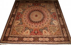 "TABRIZ PERSIAN WOOL CARPET, 8' 7"" X 8' 3"""