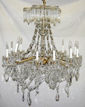 "CRYSTAL TWELVE-LIGHT CHANDELIER, H 30"", DIA 29"""