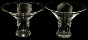 "STEUBEN GLASS BOUQUET VASES, TWO, H 5"","