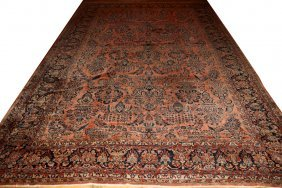 "PERSIAN SAROUK WOOL CARPET, C. 1930 18' 1"" X"