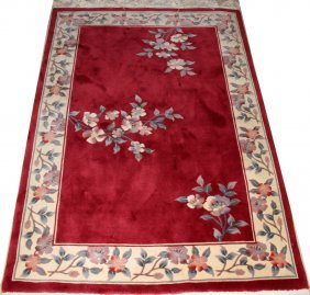 """CHINESE HAND WOVEN WOOL RUG, 3' 9"""" X 5' 9"""""""