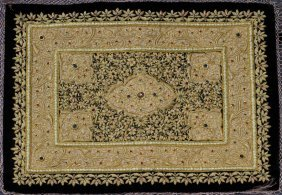 GOLD THREAD TAPESTRY W/SEMI-PRECIOUS STONES