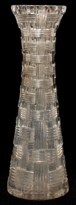 "ART DECO CUT CRYSTAL VASE, H 12"", DIA 4"""