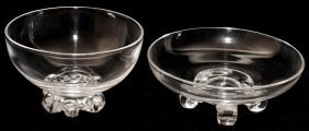 STEUBEN GLASS LOW FOOTED & SCROLL FOOTED BOWLS