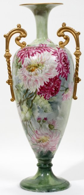 WILLETS-BELLEEK HAND PAINTED PORCELAIN VASE,