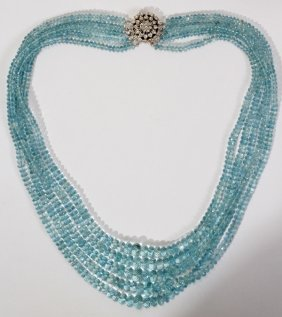 550CT AQUAMARINE BEADED NECKLACE & CLASP