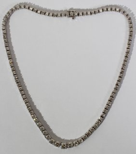 14KT WHITE GOLD & DIAMOND NECKLACE, L 16""