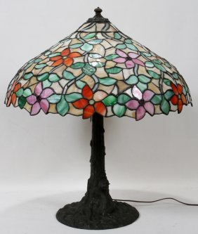 "LEADED GLASS TABLE LAMP, H 28"", DIA 24"""