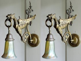 BRASS AND ART GLASS EAGLE-FORM SCONCES, PAIR