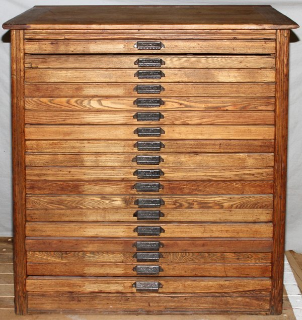 "HAMILTON MFG CO. OAK PRINTER'S CABINET, H 43"" : Lot 50061"