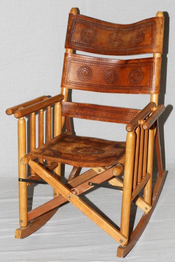 Vintage southwest fold up rocking chair leather