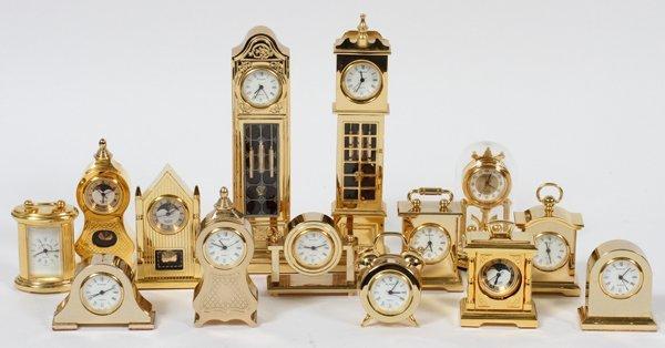Realized Price For Bulova Miniature Brass Clocks Fourteen