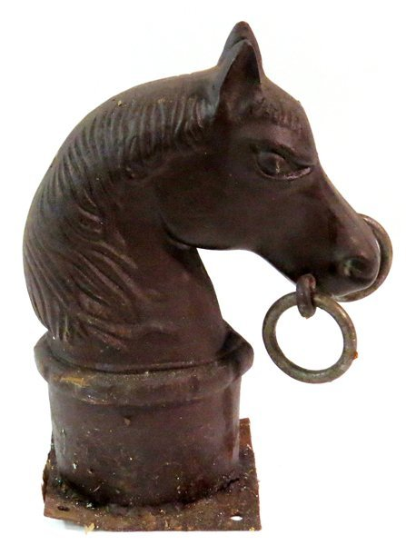Cast Iron Horse Head Hitching Post Finial Lot 50145