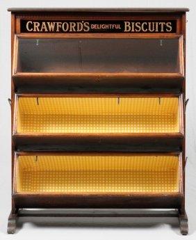 Walnut 'crawford's Delightful Biscuits' Store Bin