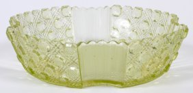 Early American Vaseline Glass Daisy & Button Bowl