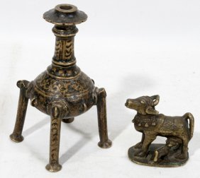 Benin Bronze Bottle & Animal Figure Two