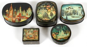 Russian Hand Painted Lacquer Boxes C2002 5 Pcs.